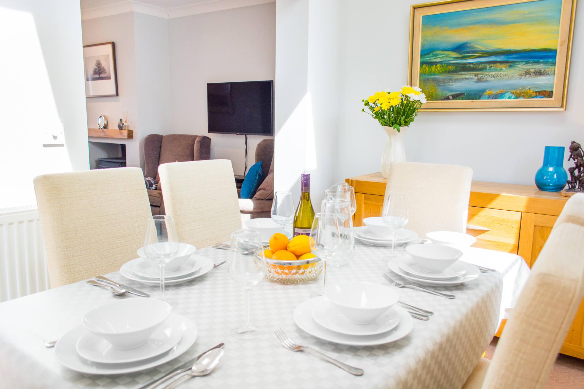 Close up photo of dining set and crockery.