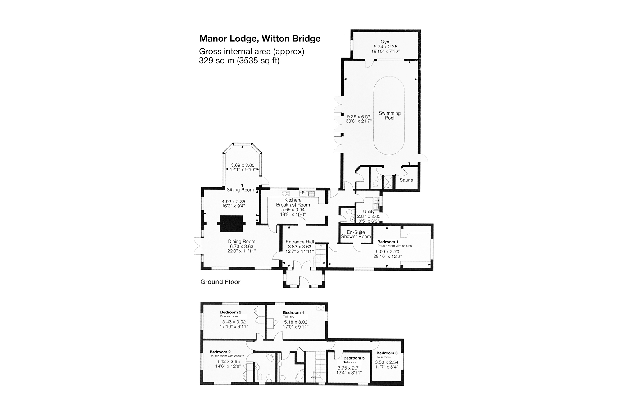 Floor plan of Manor lodge holiday home.