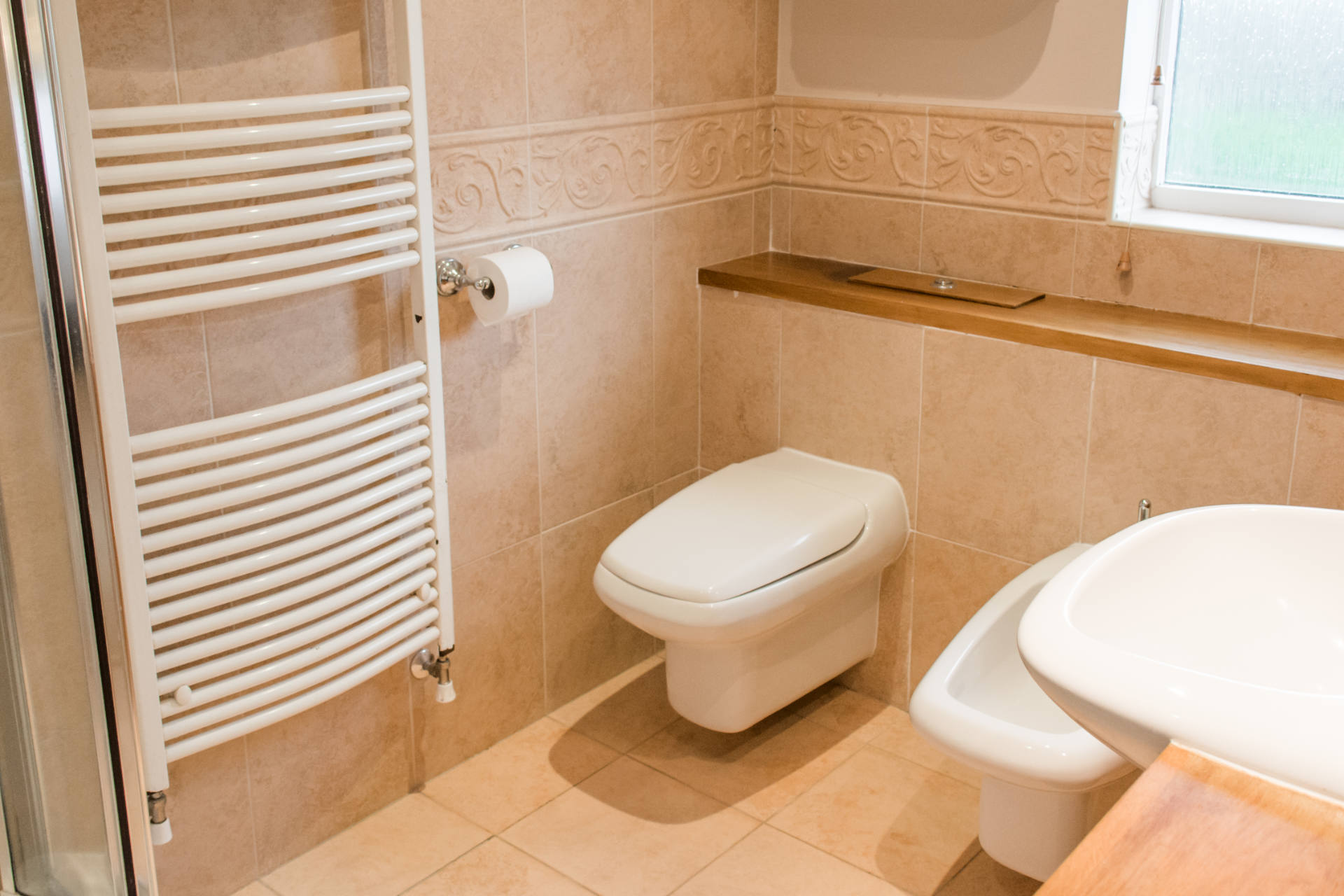 Bathroom toilet and towel rail.