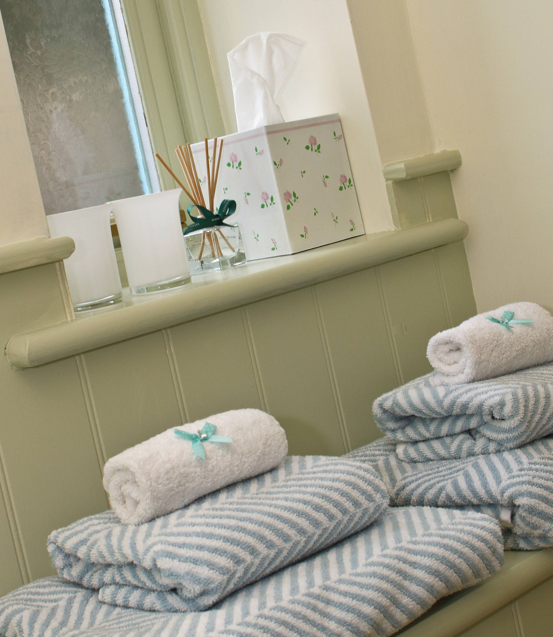 Bathroom towels for guests.