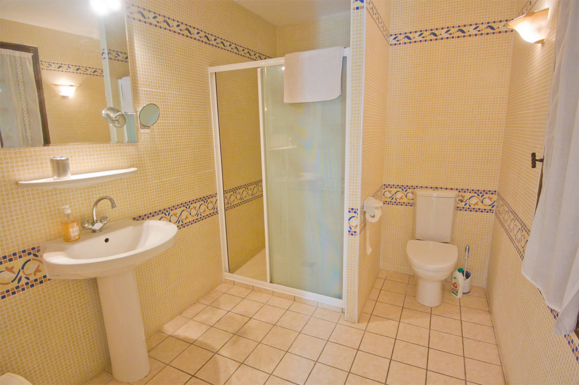 Bathroom with walk in shower, toilet and sink.