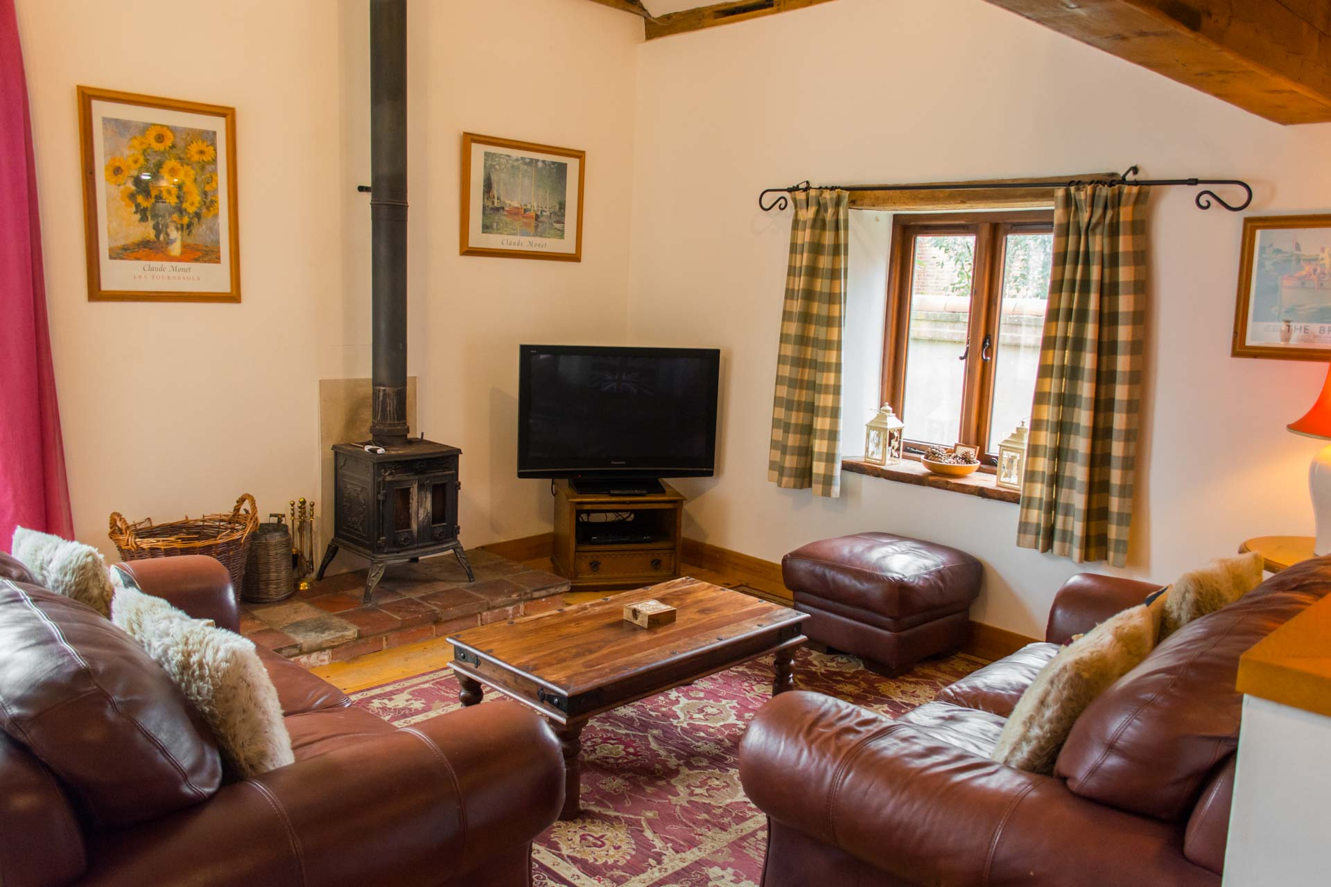 Interior shot of rural property shire horse barn showing the living area and furnishings