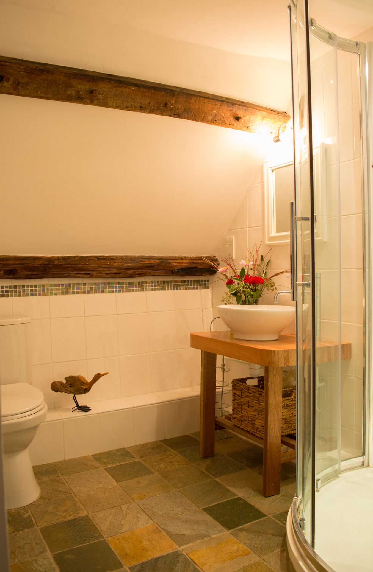Bathroom with toilet and stand in shower cubicle.
