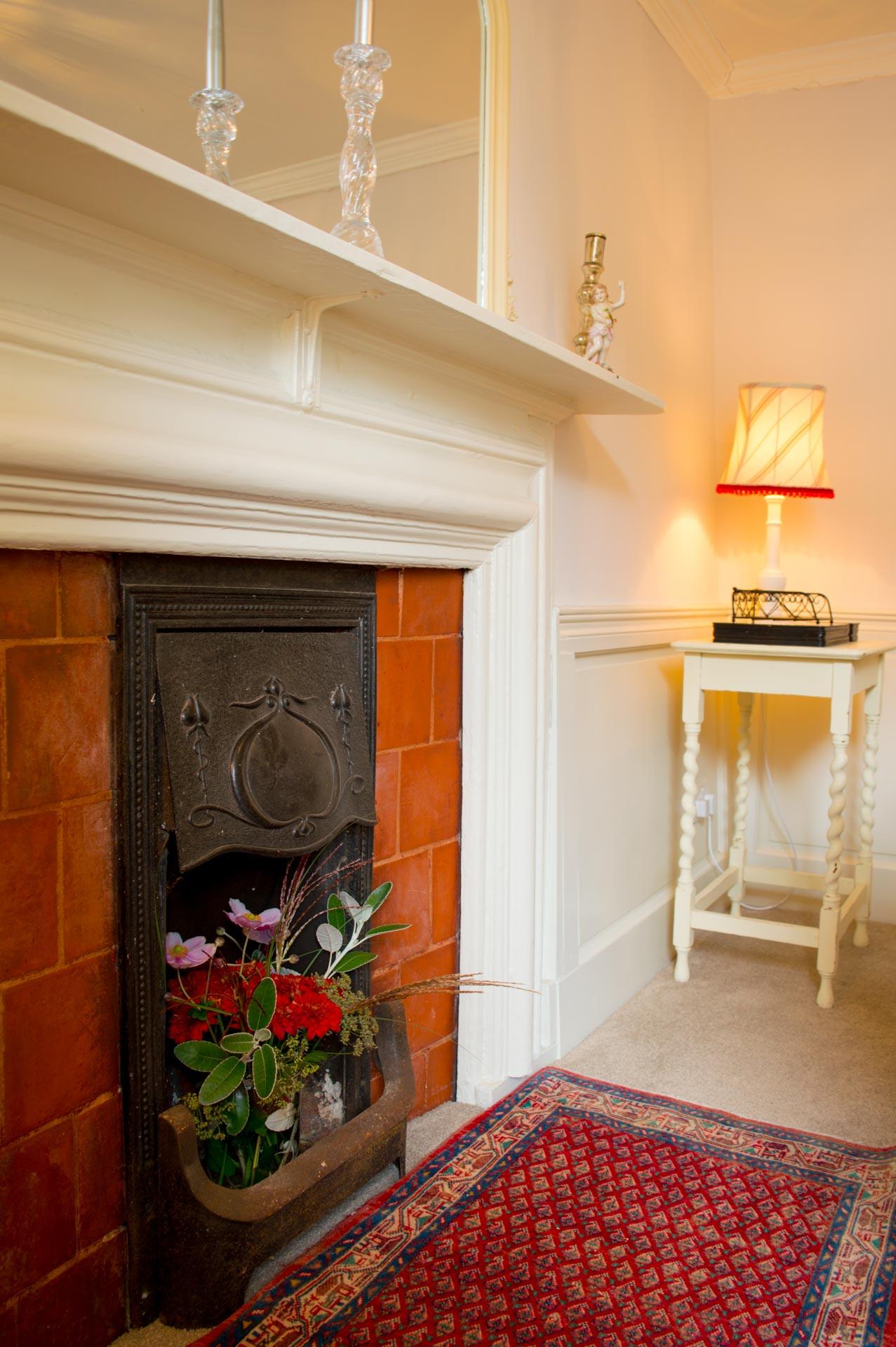 Ornamental fireplace.