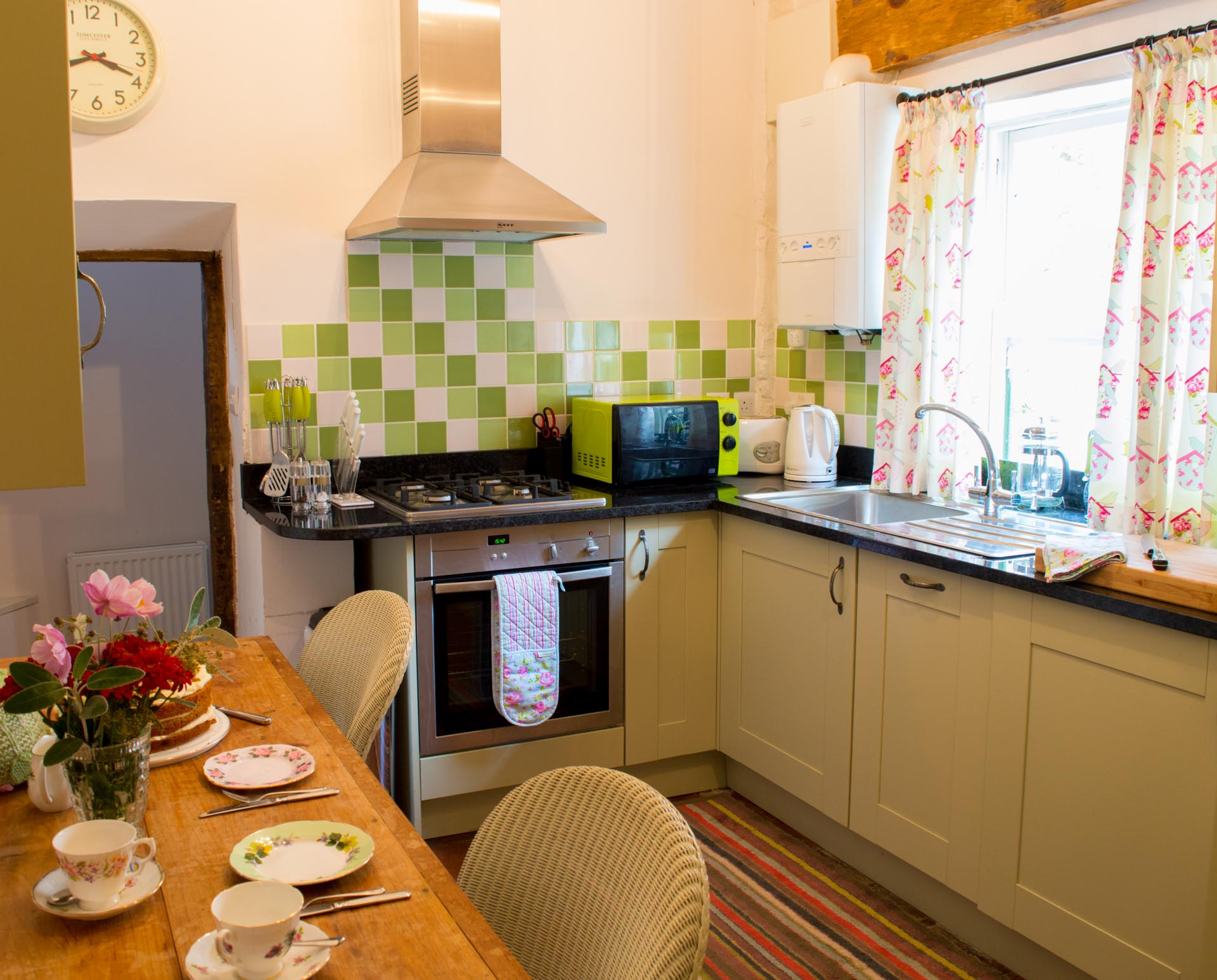 Holiday property kitchen and dining table.