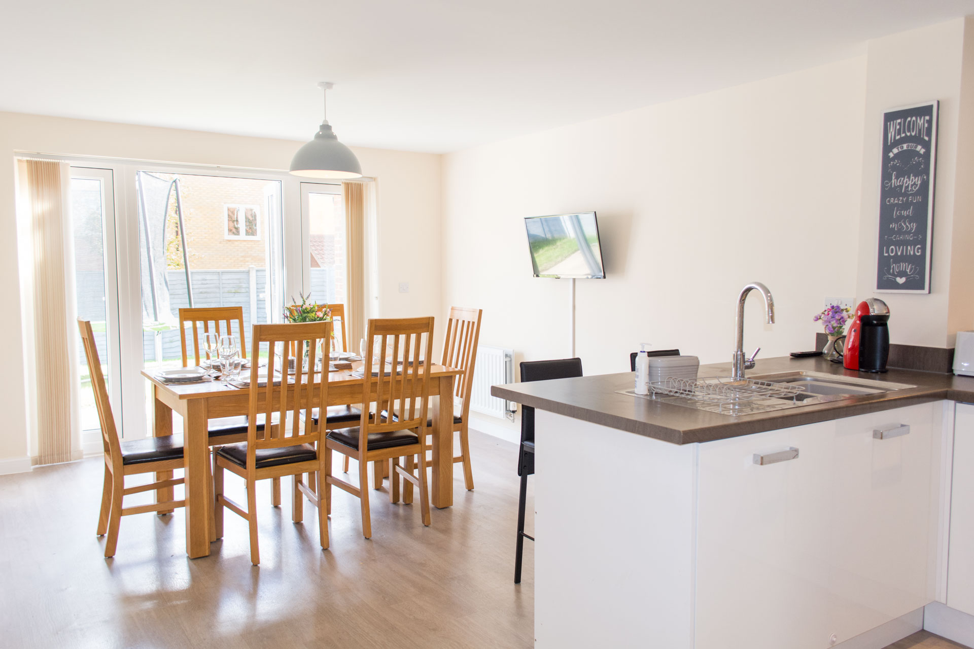 Large family kitchen and dining area.