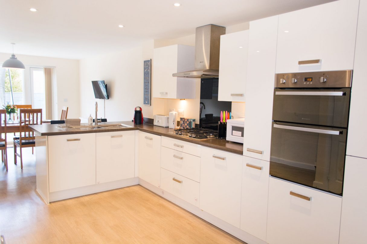 Large kitchen with plenty of worktop space.