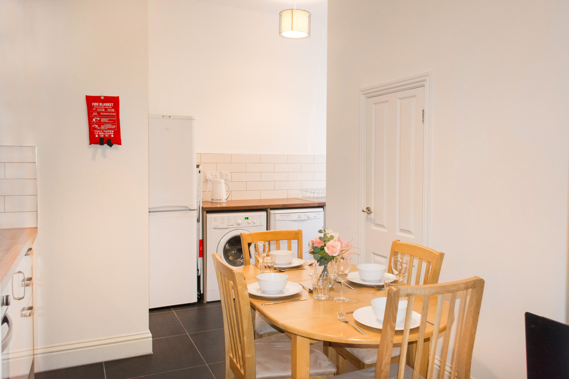 Family dining area and kitchen.