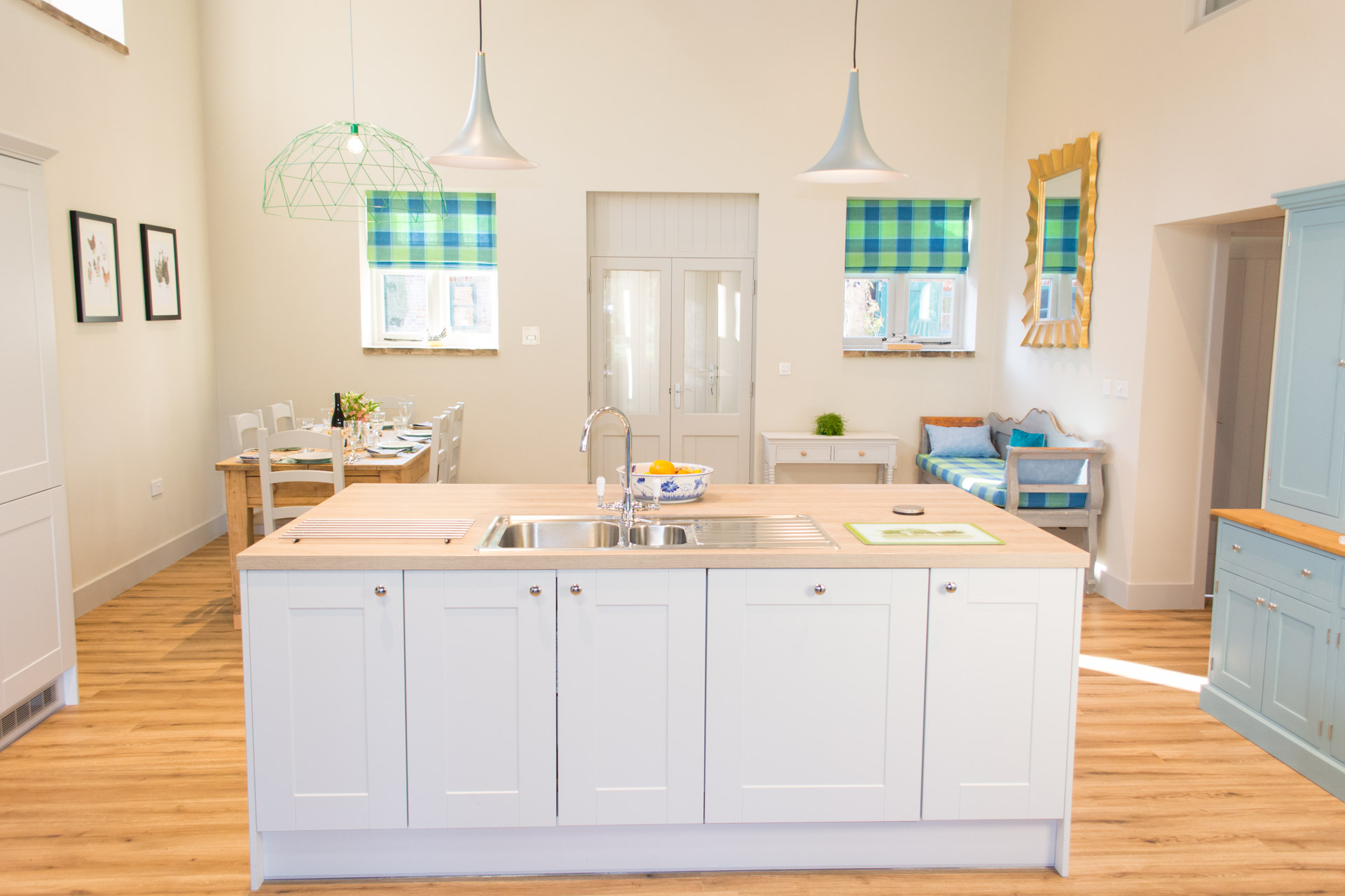 The kitchen island and front entrance to Boathouse Barn