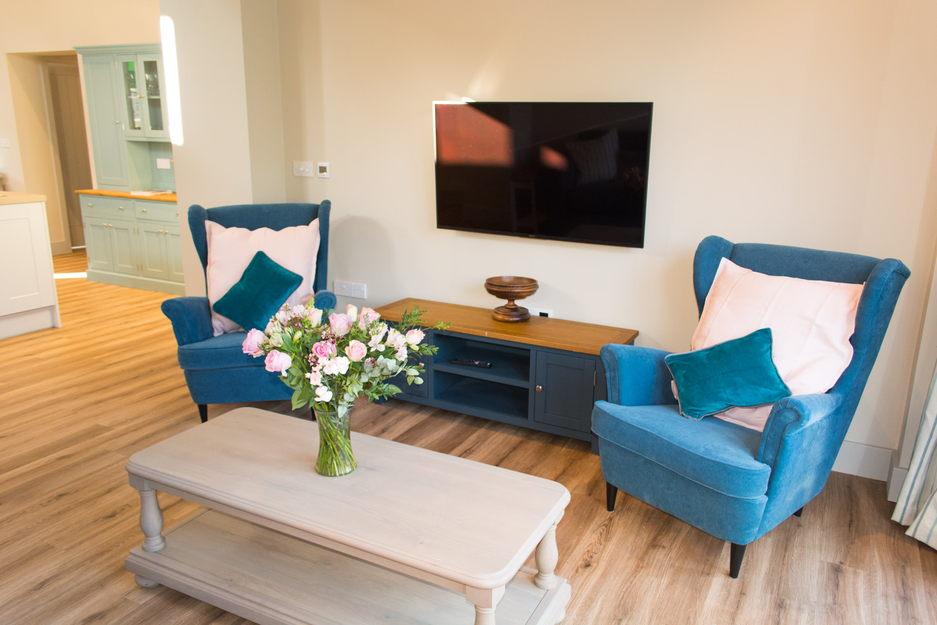 Living area and flat screen television