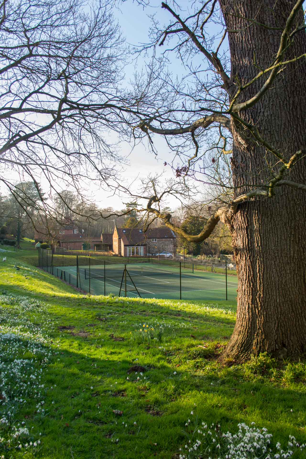 Long distance photo of the tennis court and Boathouse Barn from the woods.