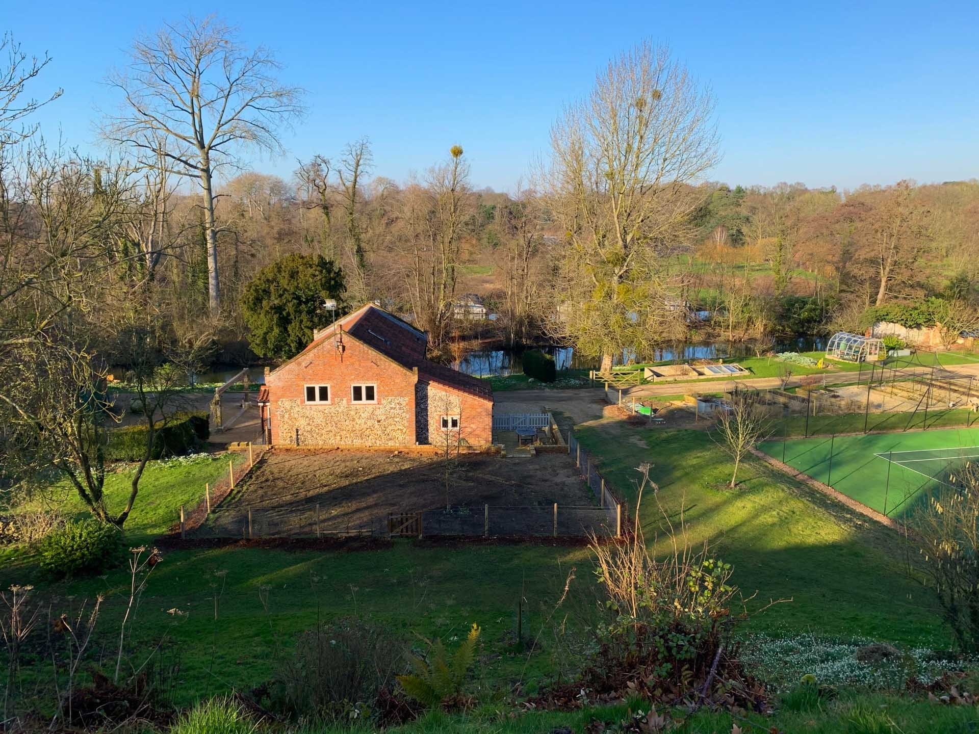 Ariel photo of Boathouse Barn and surrounding private grounds.