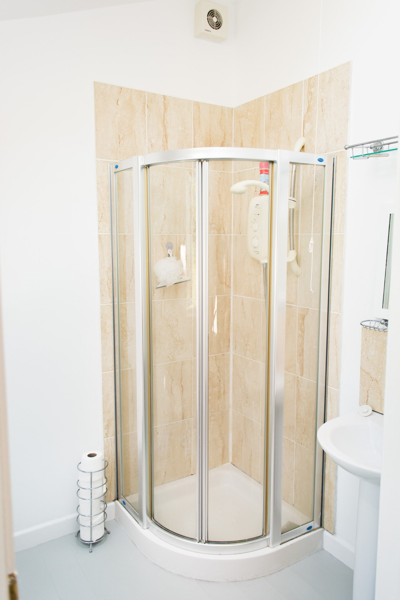 Modern large shower cubicle.