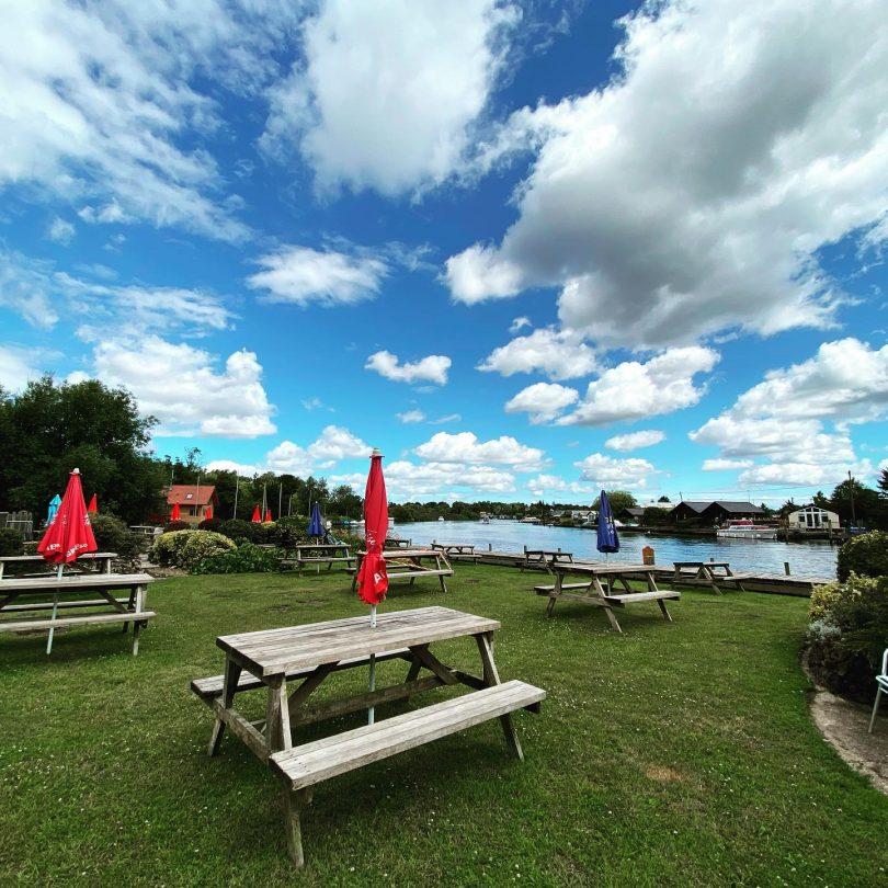 Riverside beer garden and Coldham Hall