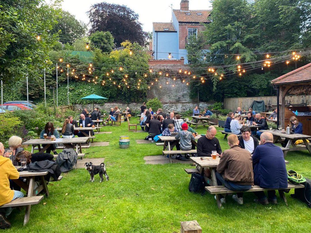 The Black Horse beer garden.