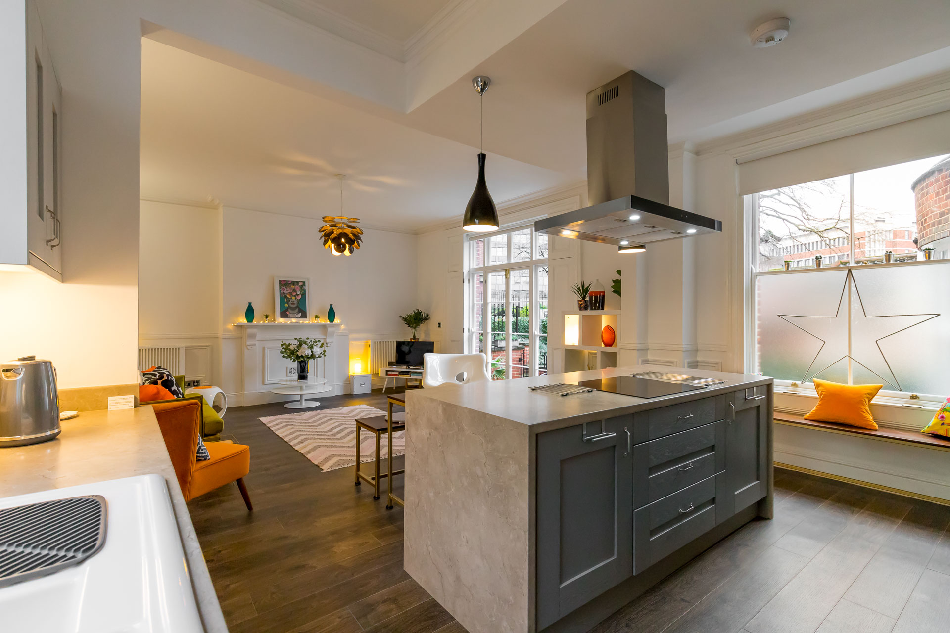 Interior view of All Saints Green Cottage living kitchen and dining area